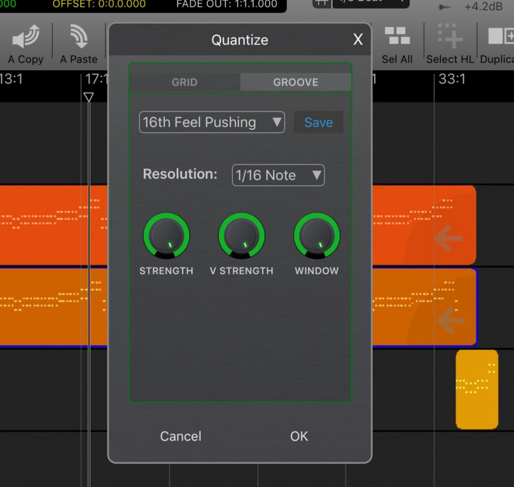 Auria Pro also adds groove quantize features for both audio and MIDI tracks.