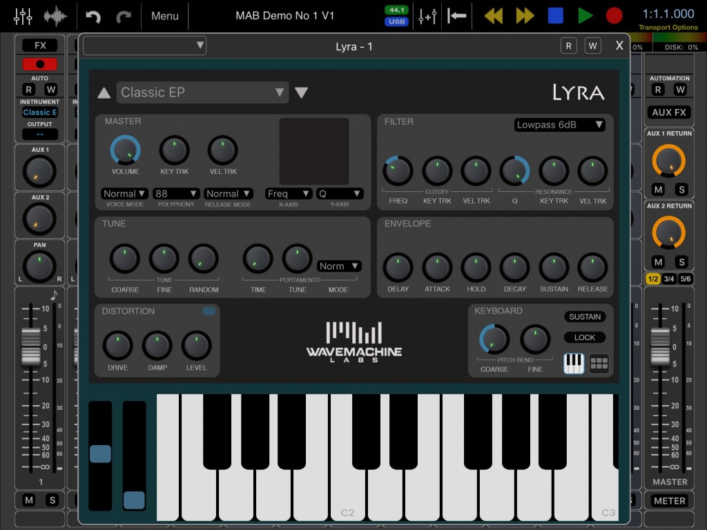 Lyra's interface is simple enough to use and styled as per the rest of the Auria Pro GUI.