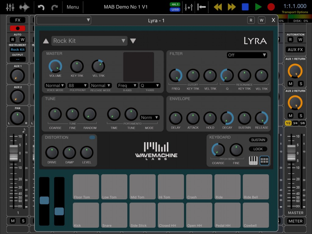 Lyra also includes a drum pad option for programming drum parts.