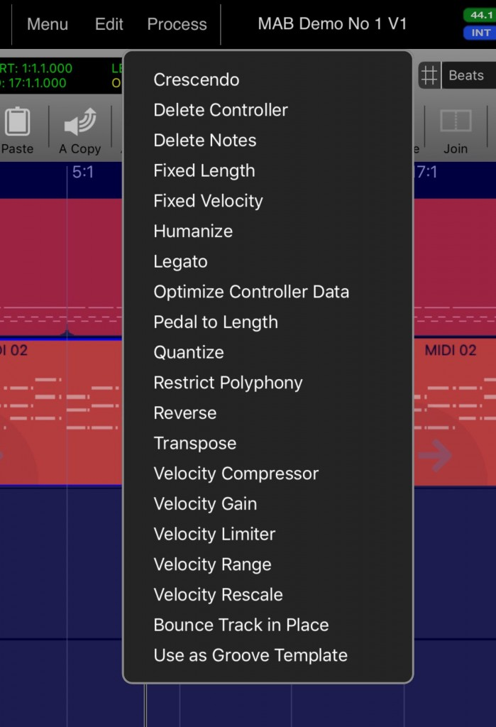 The MIDI options include some useful editing presets.