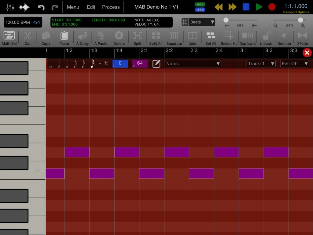 Auria Pro's piano-roll MIDI editor will seem familiar if you have used any other sequencer software.