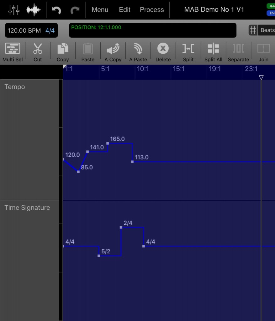 Auria Pro adds both tempo and Time Signature tracks... although this is perhaps a feature that still needs a little work.