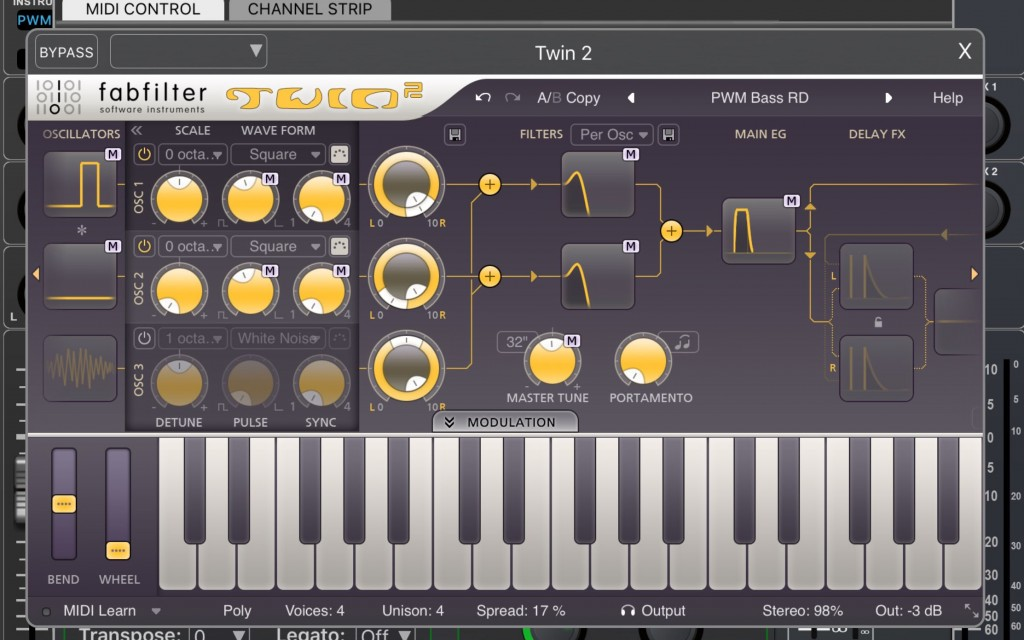 FabFilter's Twin2 is a pretty impressive synth included for free within Auria Pro.