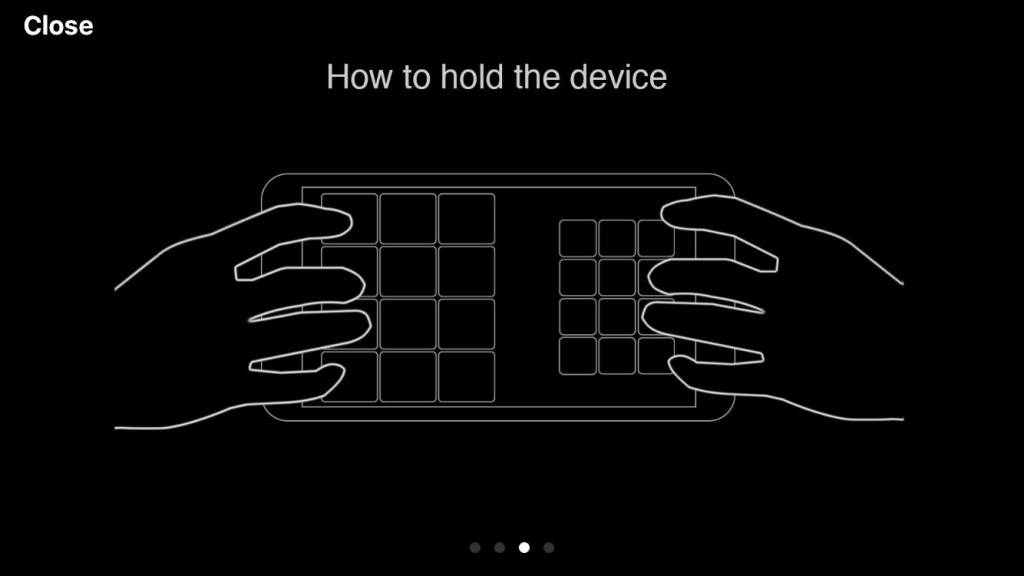 A little experimentation might be required to work out the most comfortable way to hold your iOS device while using the app :-)