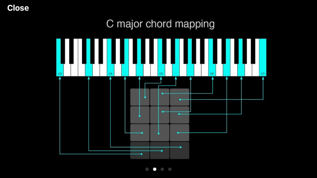 ChordUp uses a rather clever system of automatic mapping of the notes from the selected chord to the 12 trigger buttons as seen here for this example chord of C major.