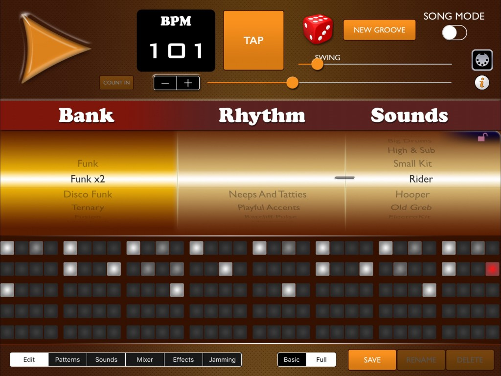 You can switch between a 'basic' and a 'full drum kit... and the pattern grid is also customisable by the user when creating their own patterns.