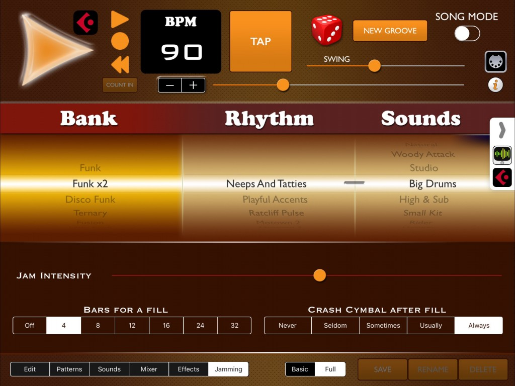 The Jamming mode of Funk Drummer is really very good and the Jam Intensity slider allows you to add as much, or as little, variation around the basic pattern as you require.