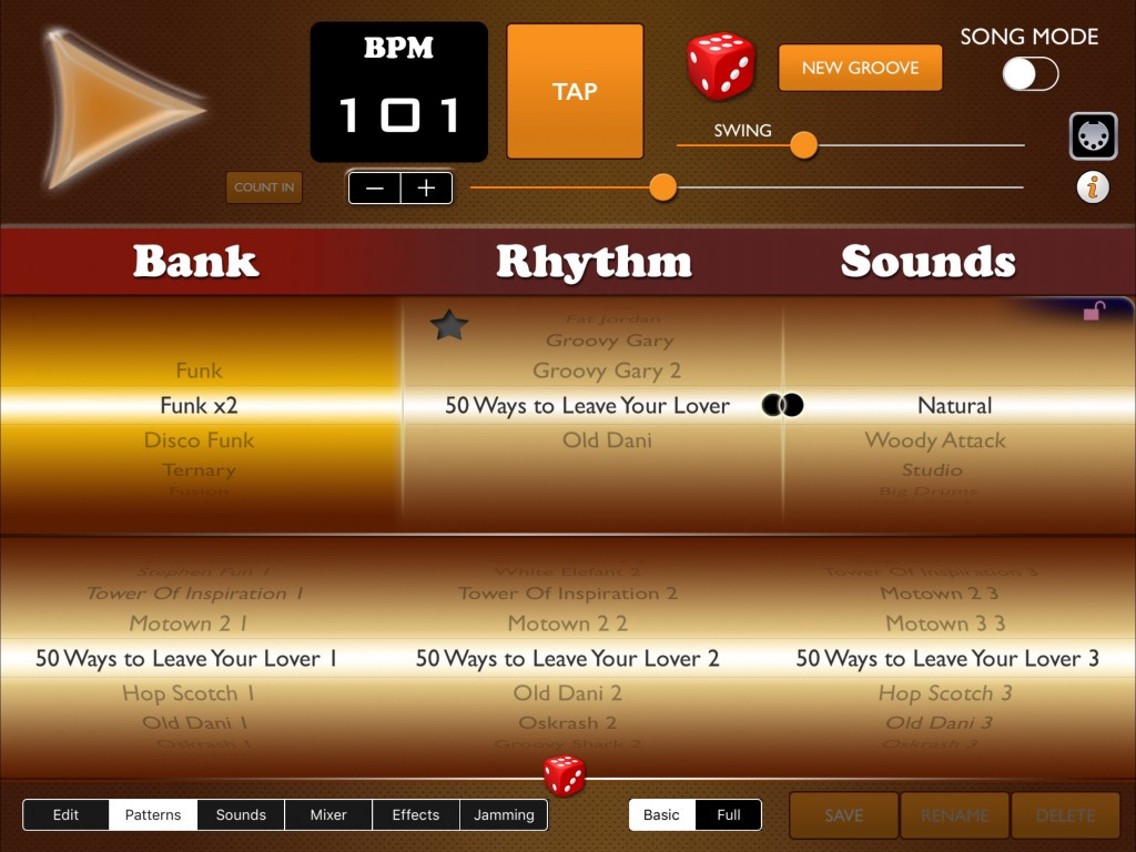 Funk Drummer comes supplied with a very good selection of preset patterns but you can, of course, also roll your own.