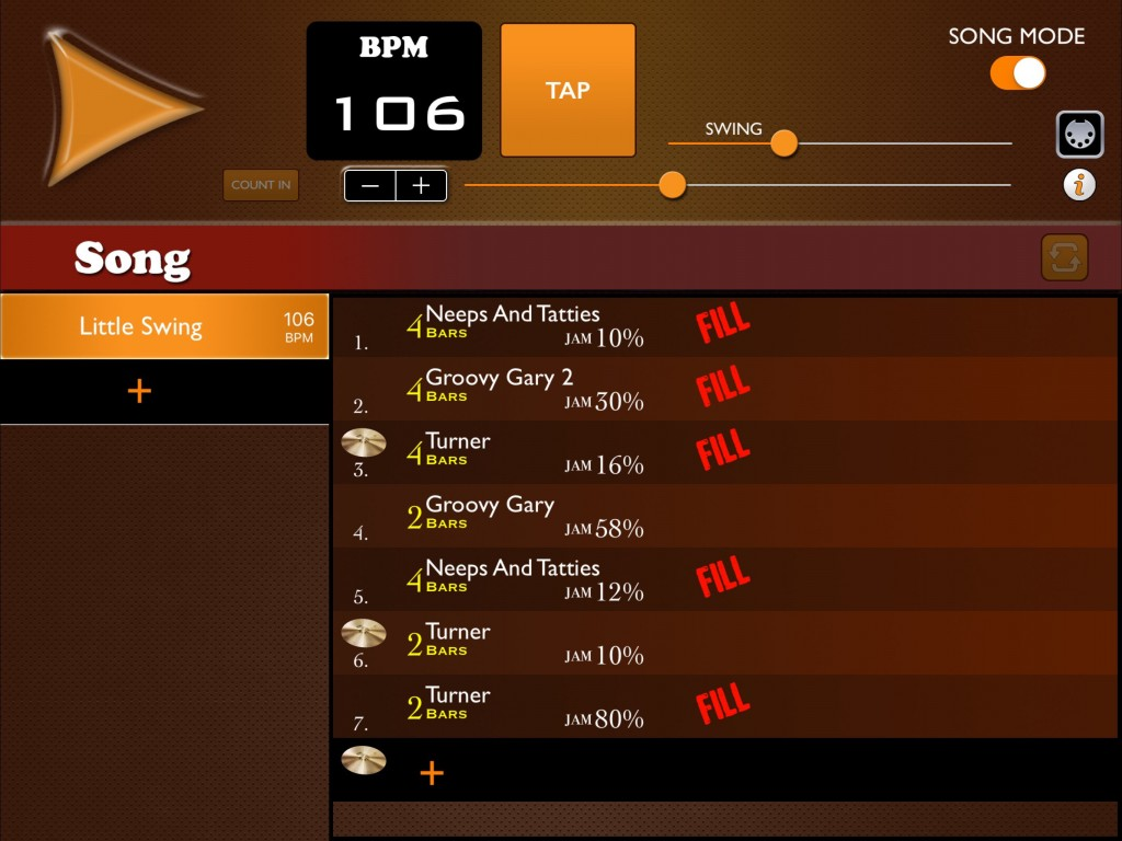The Song mode is easy to use and the options for fills and crash cymbals, as well as being able to vary the Jam Intensity, makes for a very 'human' feel to the resulting drum part.