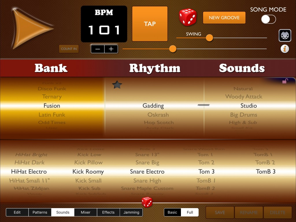 The sounds spinners allow you to customise the selection of sounds used in your drum kit.