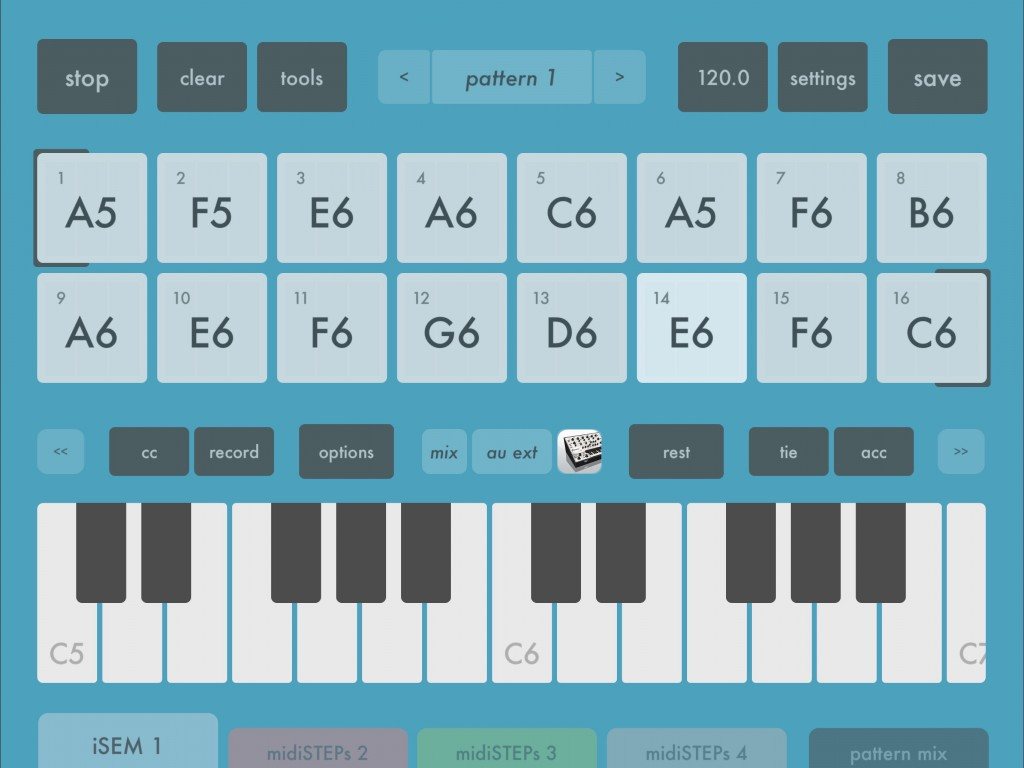 midiSteps has been updated - and note the iSEM icon identifying the destination for the MIDI data from the first midiSTEPs sequencer :-)