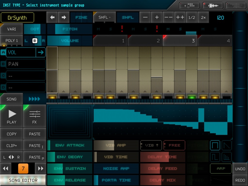 If you pick the DrSynth sound source then you can draw your own waveform in the panel as a sound source.