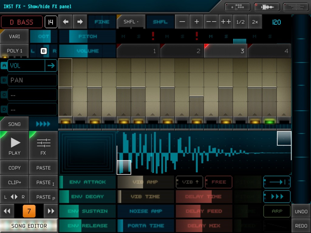 The FX buttons opens up some additional controls for editing your selected sound preset.