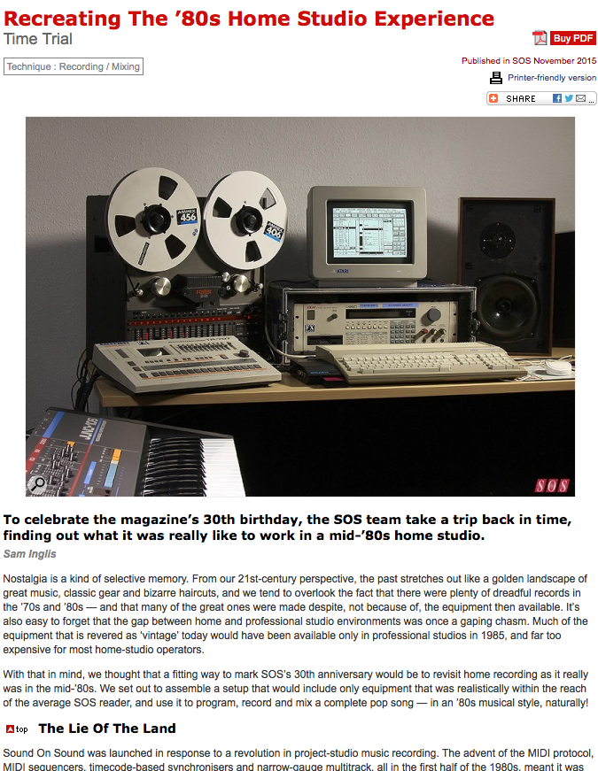 30 years ago, this studio was the cutting edge of music technology....