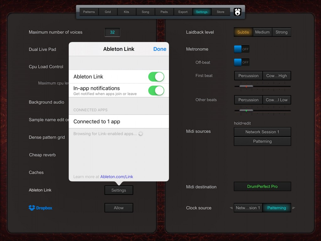DrumPerfect Pro comes with Ableton LINK support included.