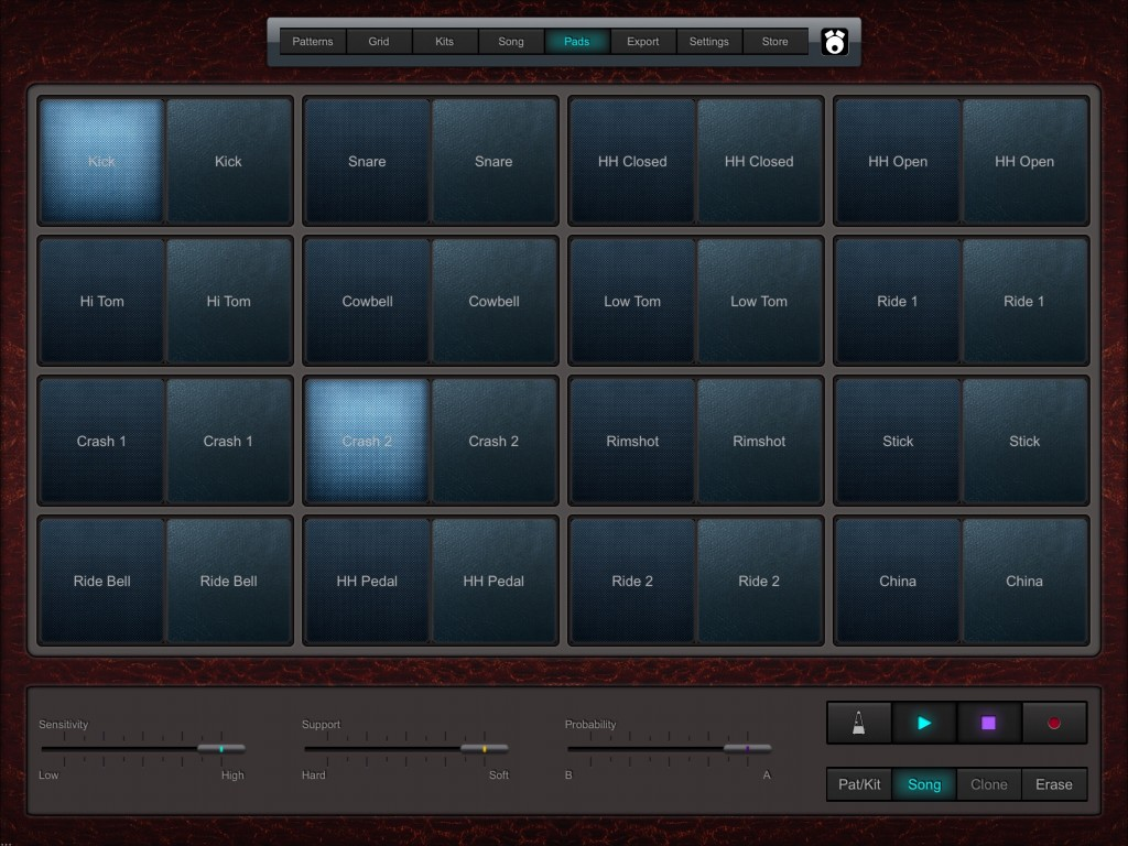 The Pad screen provides you with trigger pads if you prefer to play your patterns in live. MIDI in is also supported.