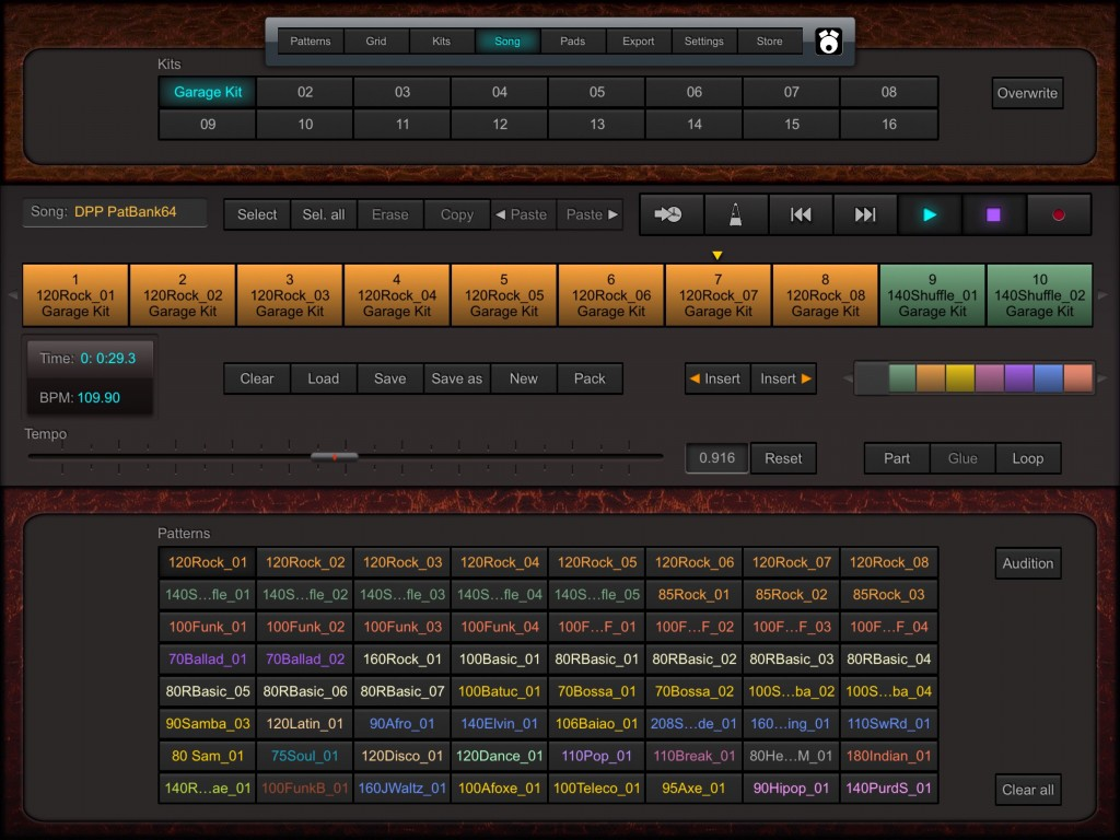 The Song screen provides plenty of options for chaining patterns into an overall song structure.