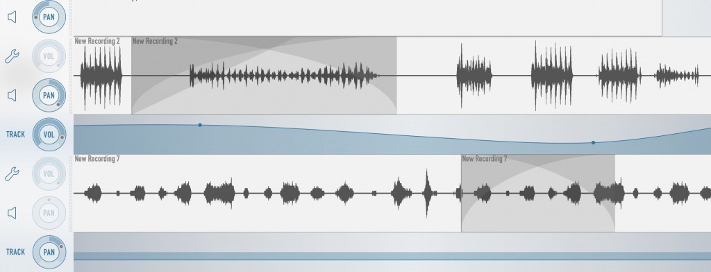 Ferrite automatically applied crossfades when two audio clips overlap on the same track.