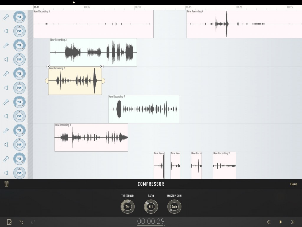 Ferrite includes some useful basic audio effects options once the FX & Automation IAP has been added.