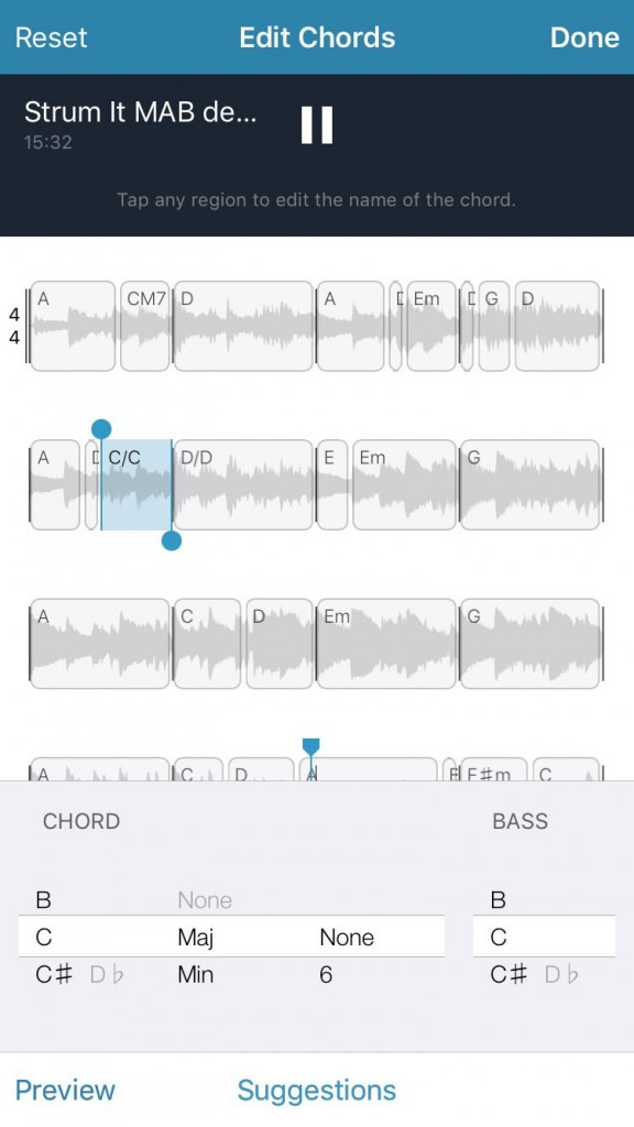You can edit the chord suggestions made by the app if required.