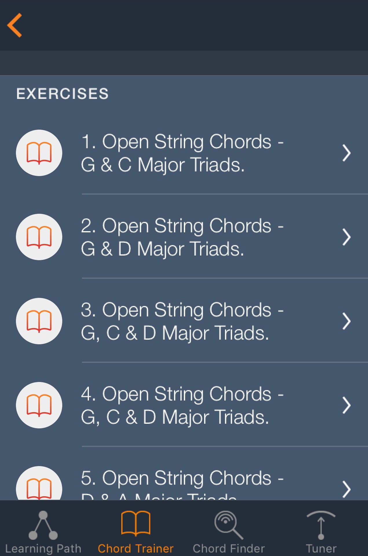 Uberchord guitar review free guitar tuition app with chord the exercises start simple but progress to some quite tricky stuff eventually hexwebz Images
