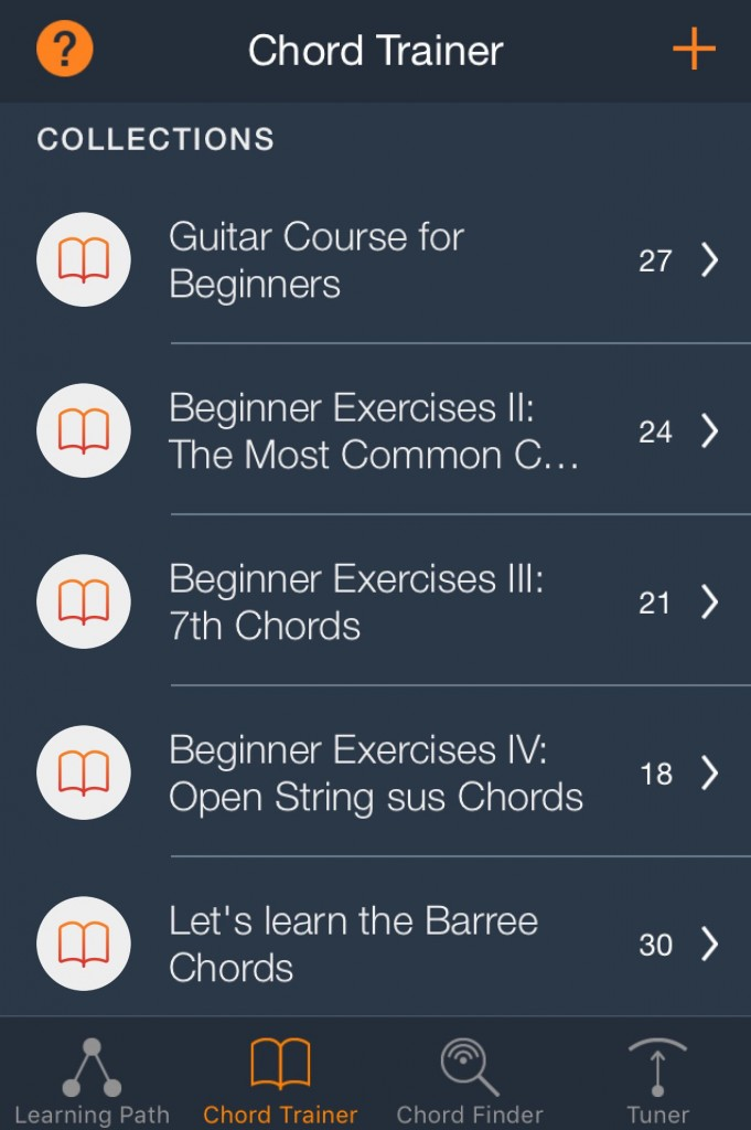 The app includes an extensive series of exercises organised into logical sections.