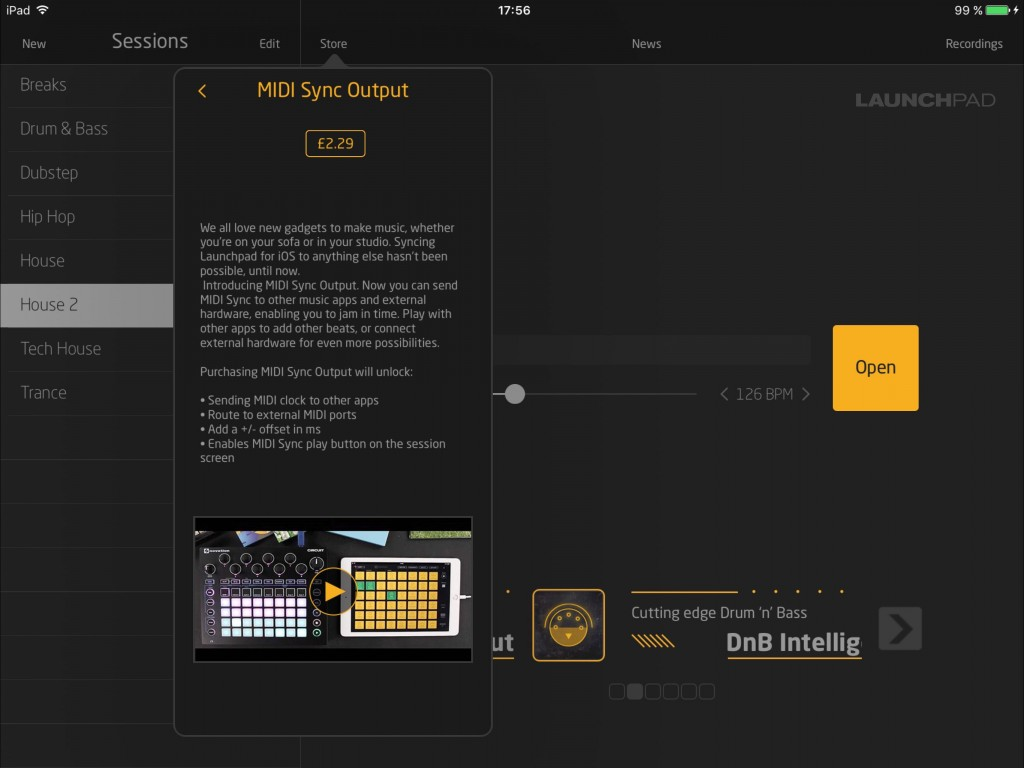 The latest IAP adds support for MIDI Clock Sync....