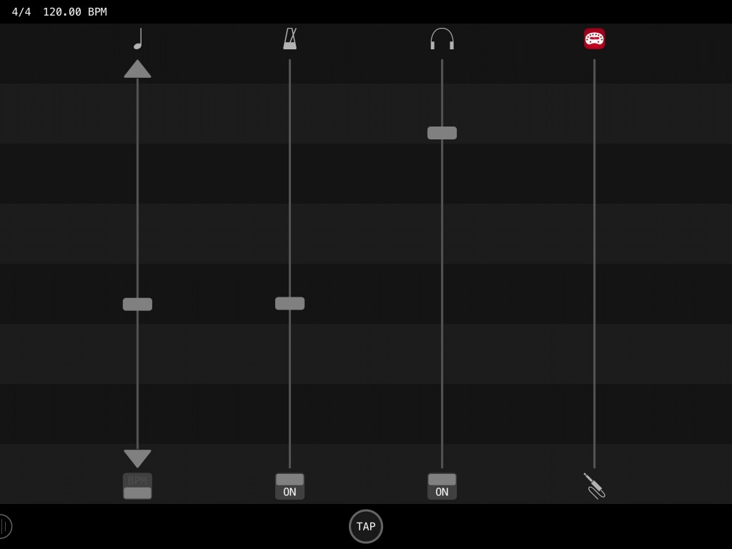 The main controls for the app allow you to configure your audio input source and the project tempo amongst other things.