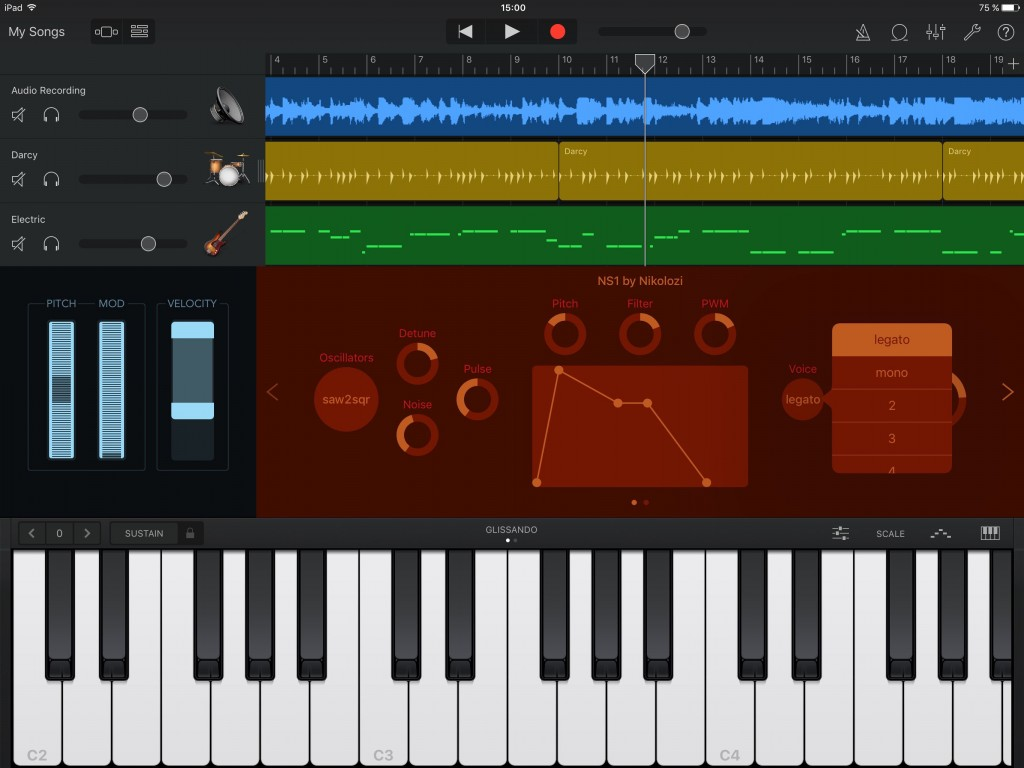 The app also worked well within GarageBand.