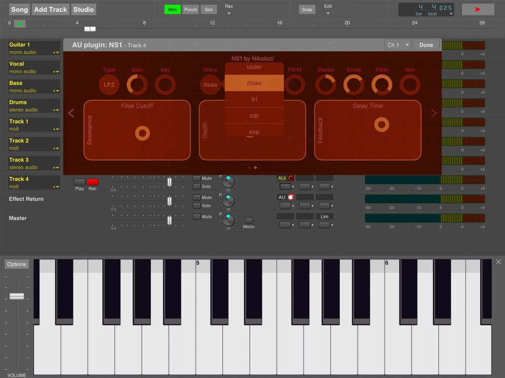 NS1 performed very well as an AUi within MultitrackStudio for iPad.