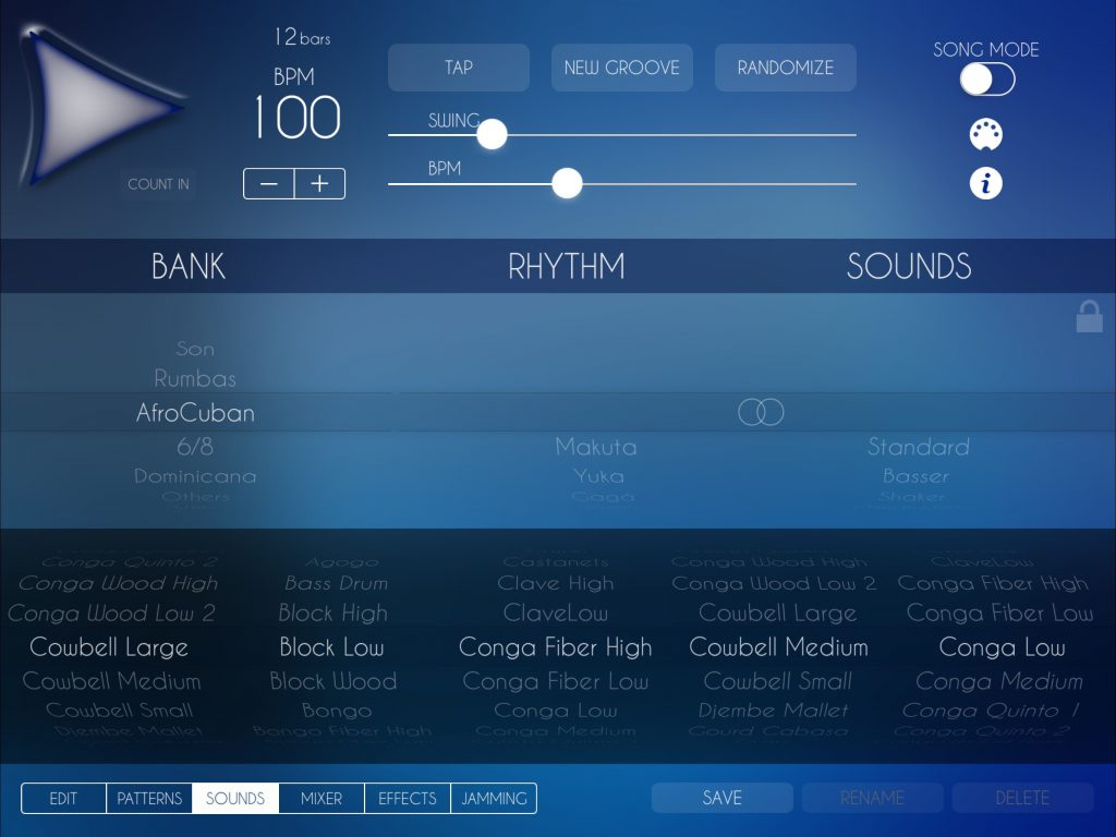 There is a very good collection of sounds to explore within the app... and the interface makes it easy to swap sounds and rhythms in/out to create new variations.