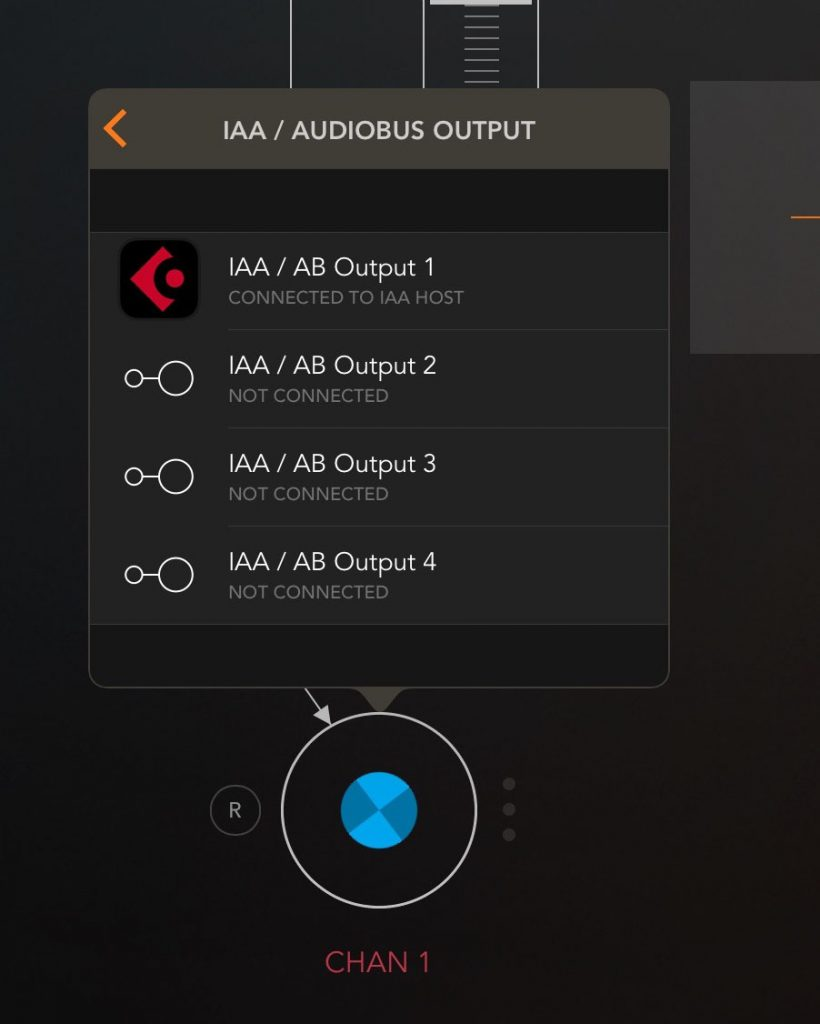 AUM's outputs can be routed to various destination including, as shown here, onwards to a DAW app such as Cubasis.