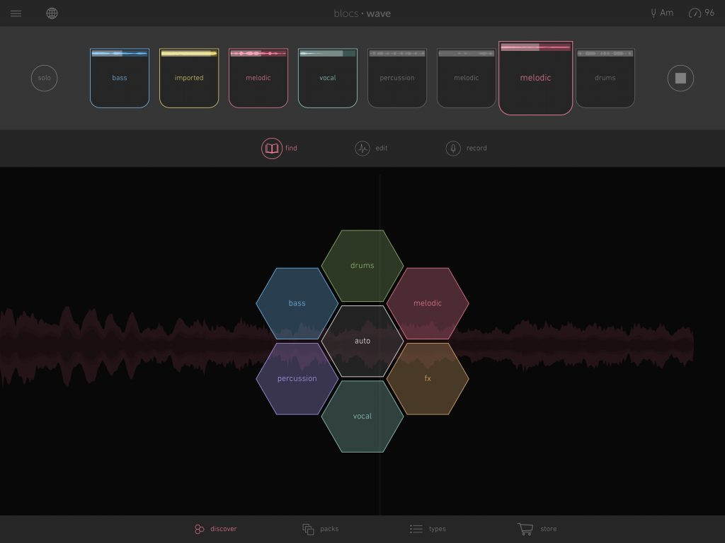 The Discover option allows you to experiment with mixing and matching audio loops to find interesting new combinations.