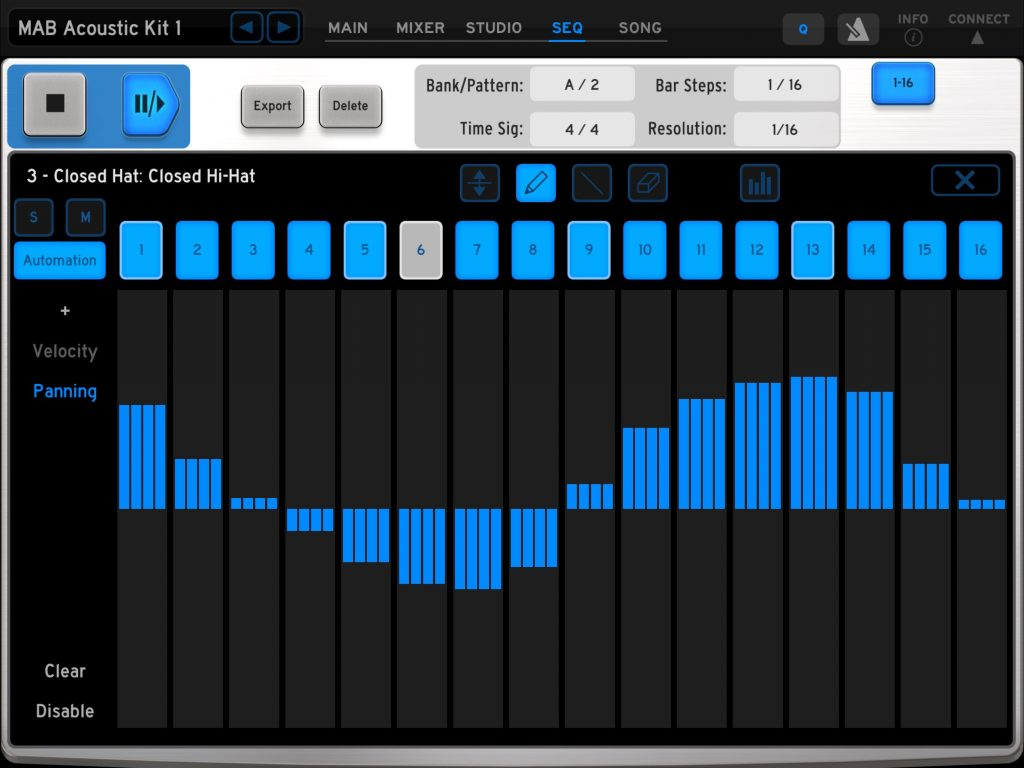 iSpark includes options for building automation data into your drum patterns.