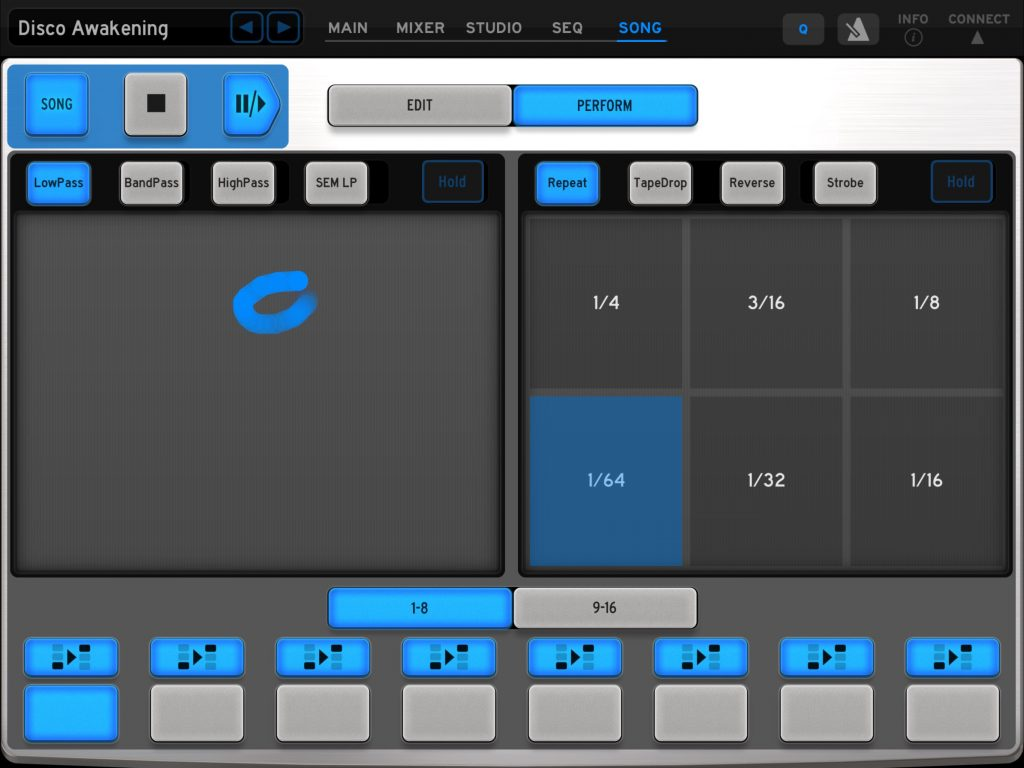 The Song Performance screen adds some additional options for using the app to 'jam' your drum tracks.
