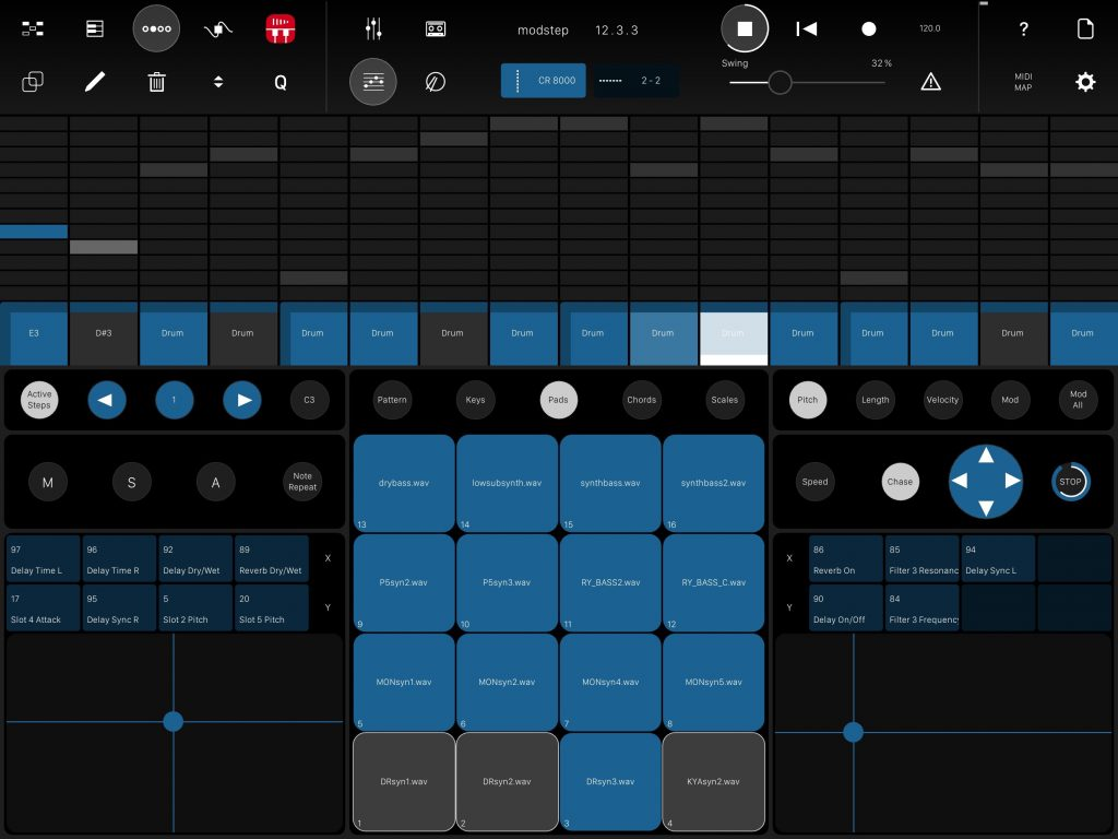 The app also includes a step sequencer environment.....