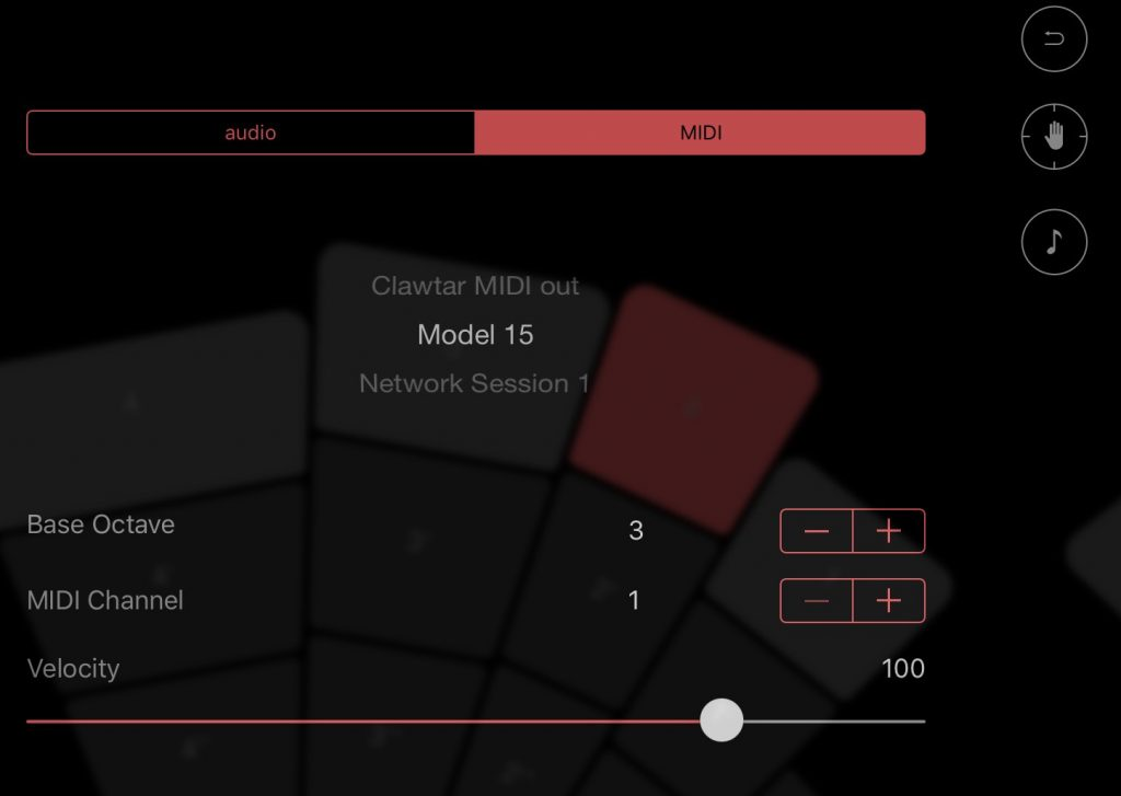 Clawtar offers internal sounds but also the option to send MIDI data to other iOS music apps... as for Model 15 shown here.