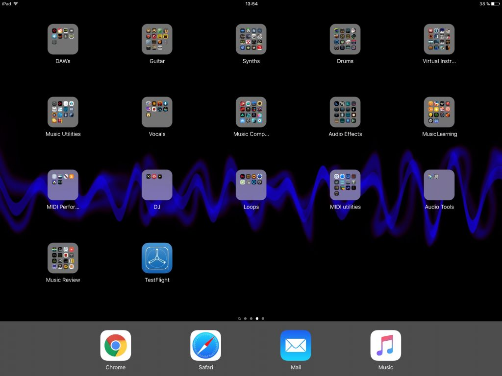 My iPad Pro 'music apps' screen.... so many folders and so many apps....