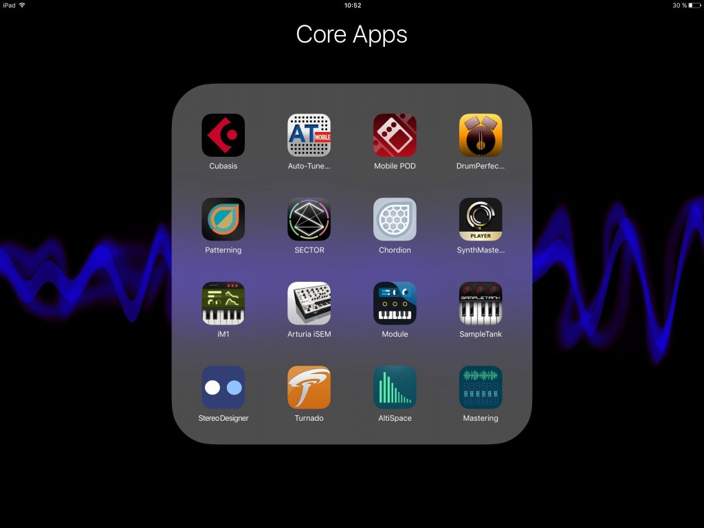 One folder and one page.... just 16 apps to form my 'core set' for an efficient, but flexible, iOS recording system.
