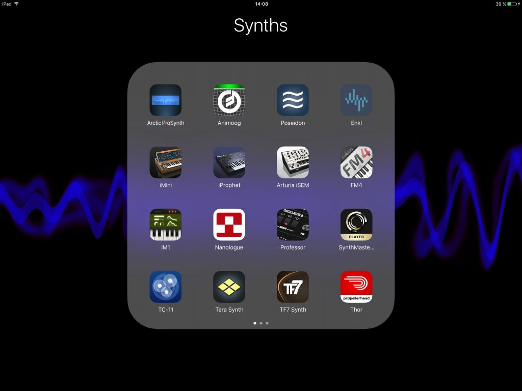 I love new apps.... but, as demonstrated by the three pages of synth apps that I have installed (and there are others I own but that are not installed), perhaps lack of a good synth is not what's holding my music back?