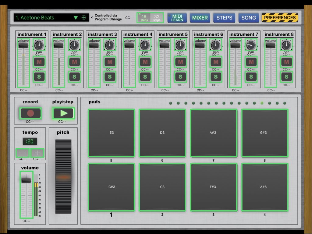 The app includes a full MIDI Learn features that seems to work very well.