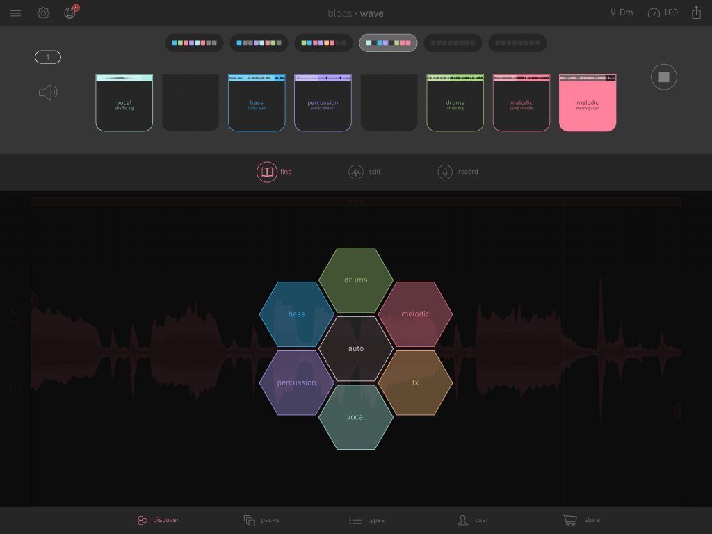Blocs wave - the 'sections' feature can be used for building more complex song structures.