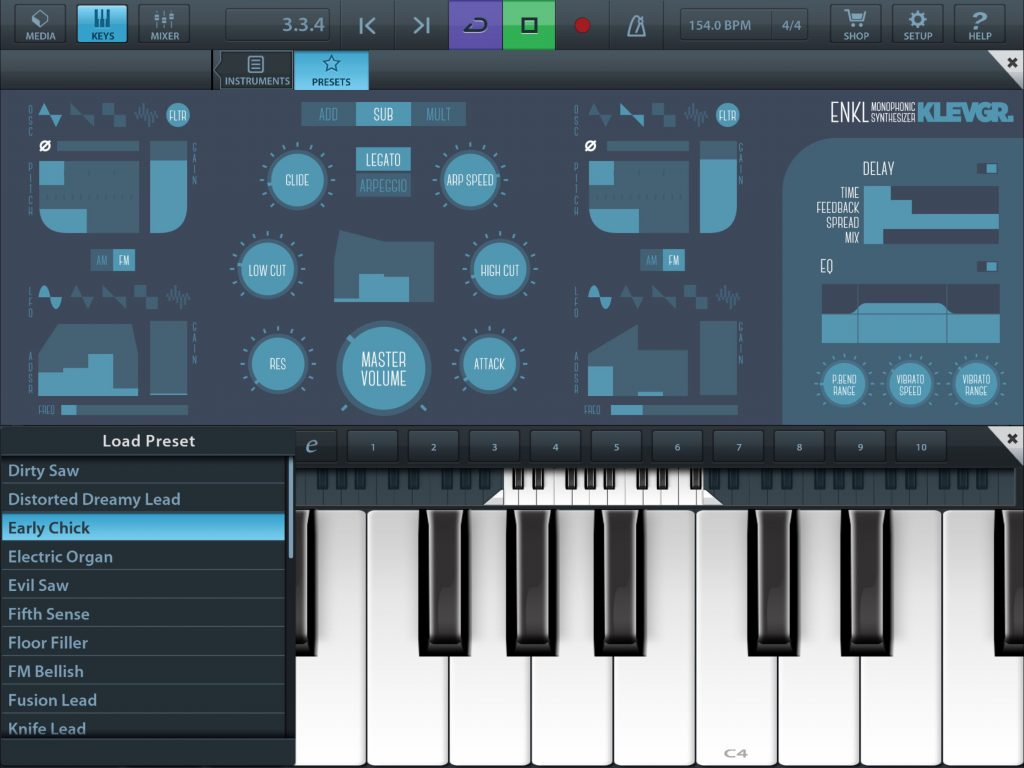 Enkl mono-synth - now available as an AUi plugin and running smoothly within Cubasis.