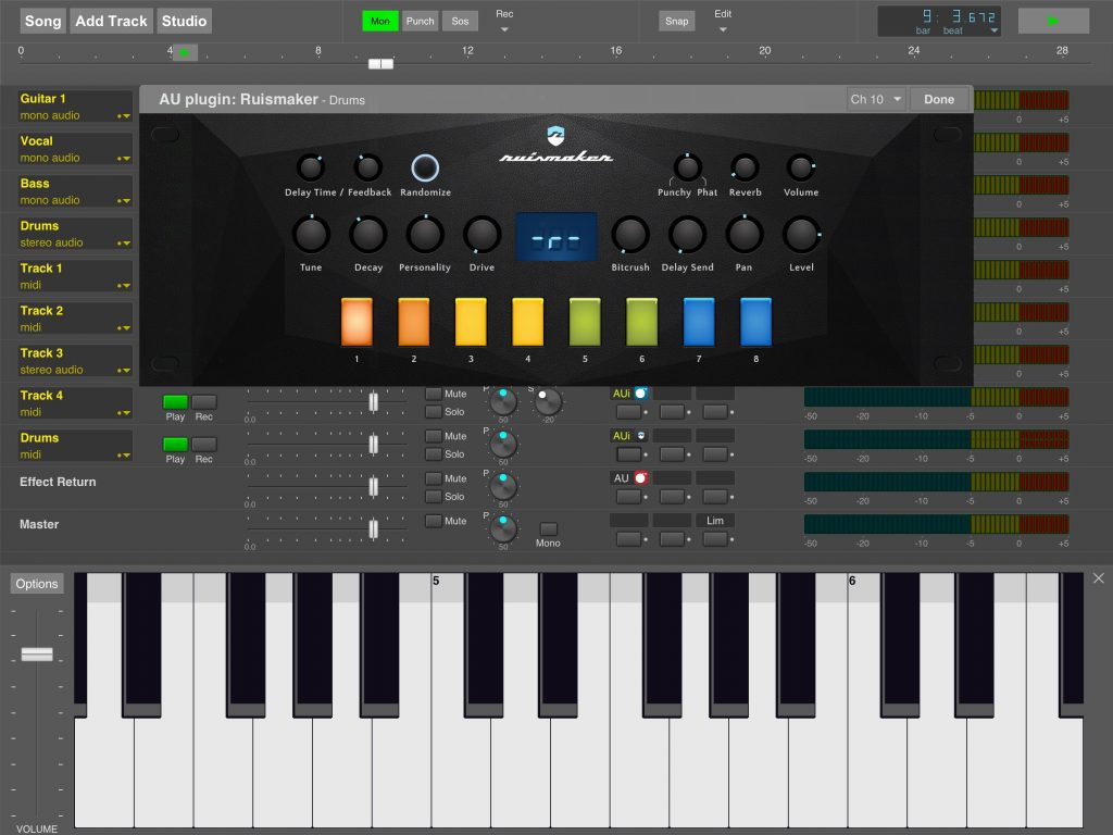 Ruismaker running within MultitrackStudio for iPad....
