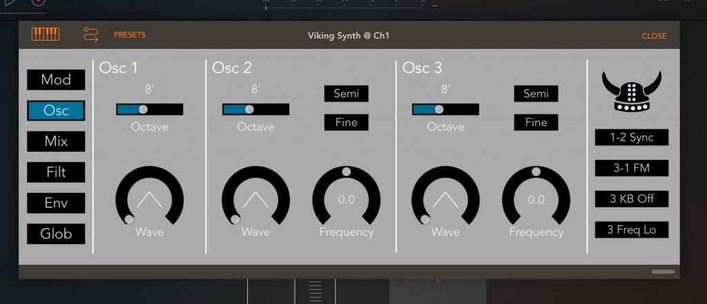 Viking Synth's main Osc page....