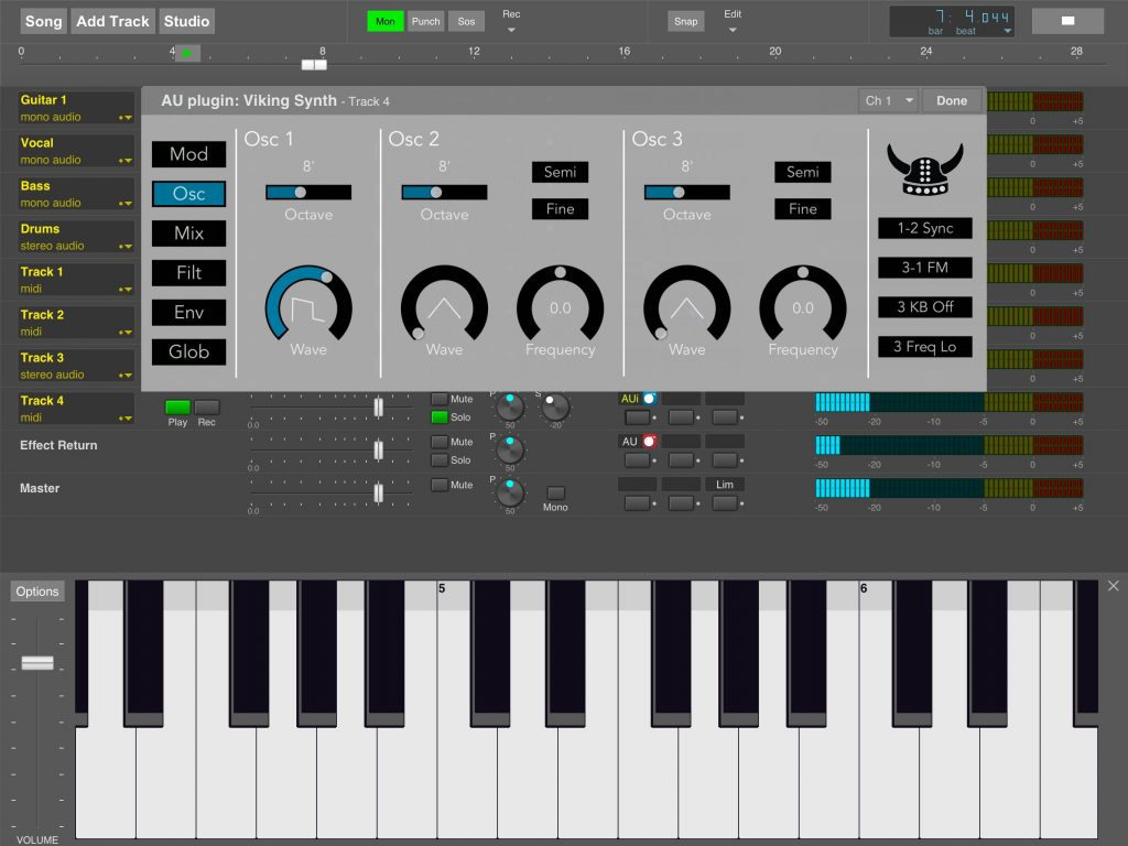 Viking Synth - Blamsoft's first AU plugin virtual instrument for iOS and seen here running within MultitrackStudio for iPad.