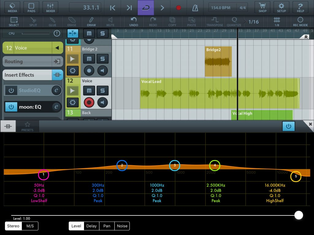 zMors EQ - a 5-band AU-only EQ plugin for iOS.... and seen here running within Cubasis.