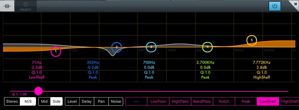 One application of M/S processing is in mastering when you might set the EQ for the sides.....