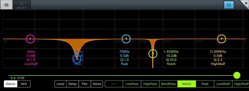 Each EQ band can be switched between a number of different modes including a 'notch' mode for dealing with very specific frequency ranges.