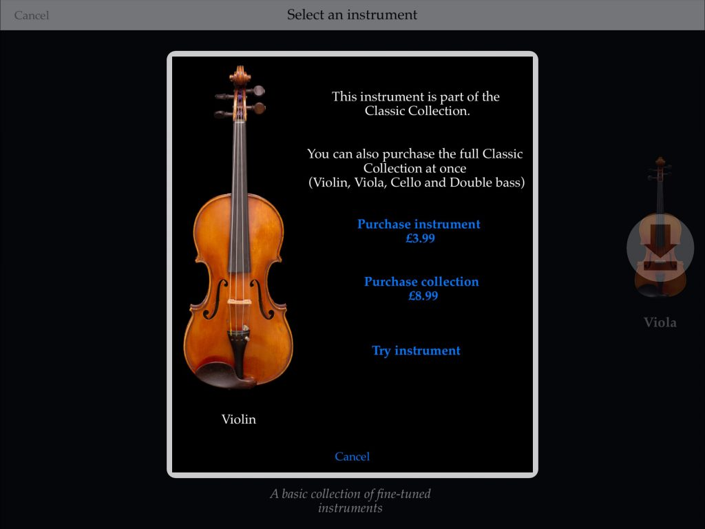 The base app is supplied with the cello instrument but, if you like what you hear, then you can also add to the sound collections via some IAPs.